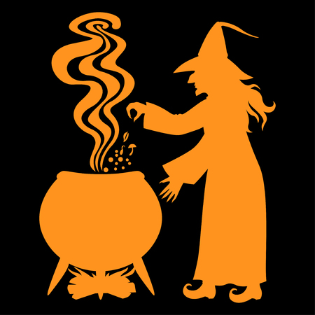 Vector illustrations of Halloween orange silhouette witch brews a potion in pot on black background
