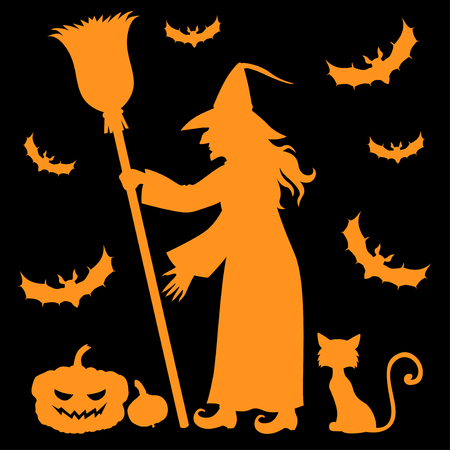 crone: Vector illustrations of Halloween orange silhouette witch holding broomstick and cat, pumpkin, vampires on black background