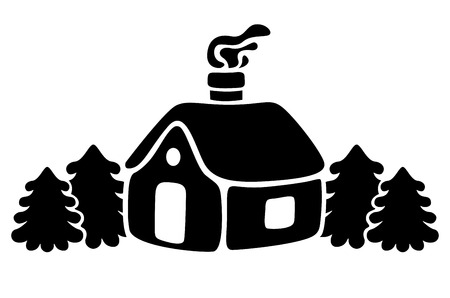 snowbound: Vector illustrations of silhouette snowbound house with fir trees