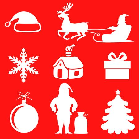 Vector illustrations of Christmas silhouette set on red background