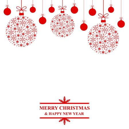 congratulatory: Vector illustrations of Christmas congratulatory card with red decorative baubles