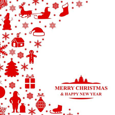 Vector illustrations of Christmas congratulatory card on white background Illustration