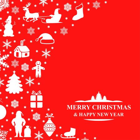 Vector illustrations of Christmas congratulatory card on red background