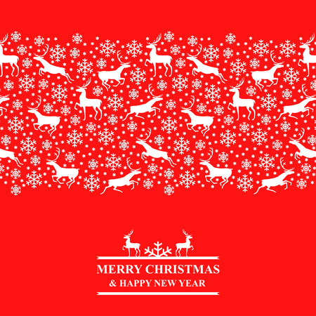 Vector illustrations of Christmas card with snowflakes and deer on red background