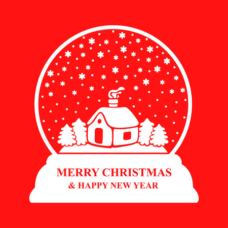 Vector illustrations of glass Christmas ball with house fir and snowflakes on red background Vetores