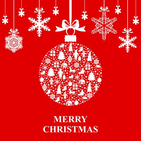 Vector illustrations of greeting Christmas card with ball and snowflakes hang on red background