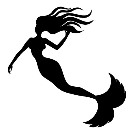 Vector illustrations of silhouette of beautiful mermaid