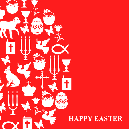 red cross red bird: Vector illustrations of card of easter symbols on red background. Illustration
