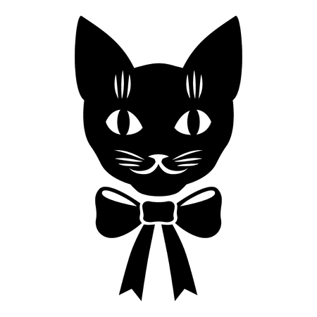 Vector illustrations of cat muzzle with bow Ilustrace