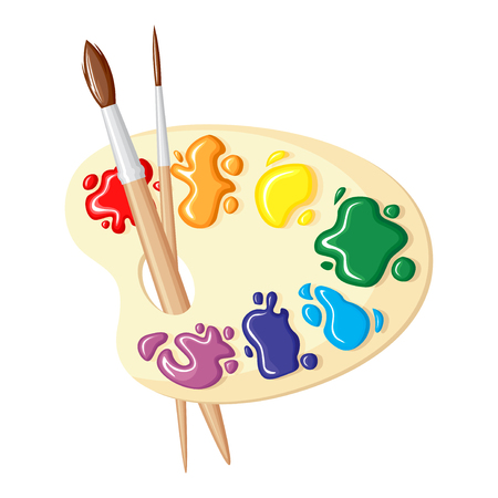 Two cartoon paintbrushes and palette of paints seven colors of rainbow Illustration