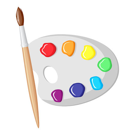 Vector illustrations of cartoon paintbrush and palette of paints seven colors of rainbow Vector Illustration