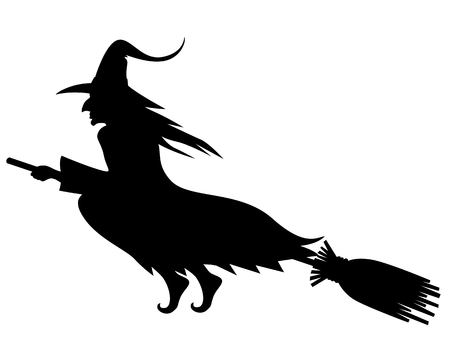 Illustrations of Halloween silhouette wicked witch with hat on broom fly Ilustracja