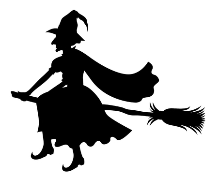 Illustrations of silhouette witch with hat and cloak on broom fly