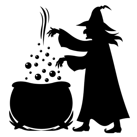 Illustrations of Halloween silhouette Witch brews potion in pot isolated on white Stock Illustratie