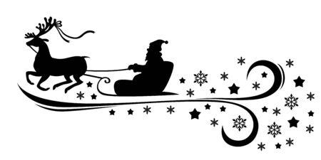 Illustrations of Christmas Santa ridding sleight in snowflakes.