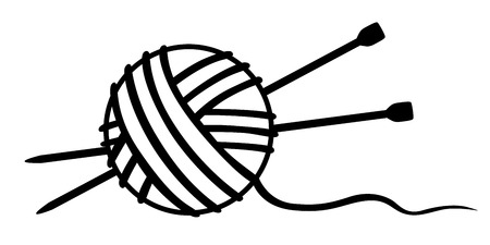 Vector illustrations of tangle of thread and knitting needles icon