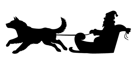 Illustrations of silhouette of Santa Claus riding on dogs sleigh.