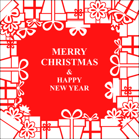 Illustrations of Christmas gifts greeting frame on red pattern. Иллюстрация