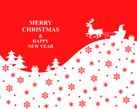 Illustrations of Christmas Santa ridding sleight in winter forest on red pattern.