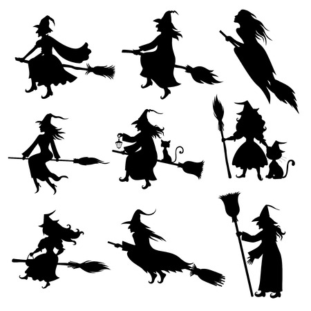 Illustrations of Halloween silhouette witch with hat and broom set. Иллюстрация