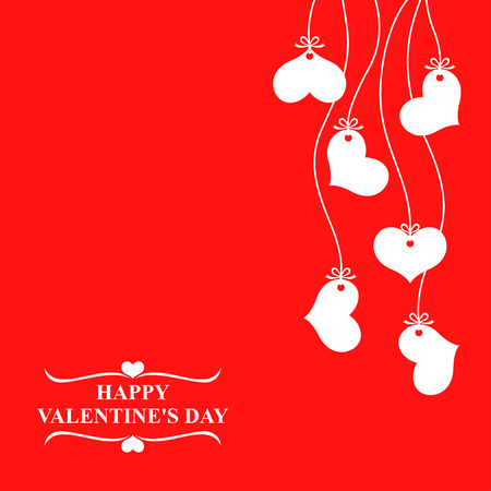 Vector illustrations of Valentines day card with hearts hanging on red background