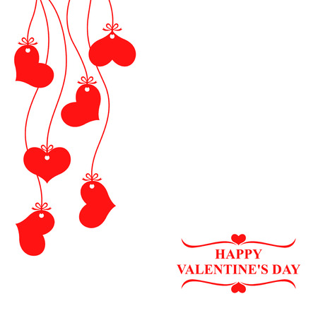 Vector illustrations of Valentines day card with hearts hanging
