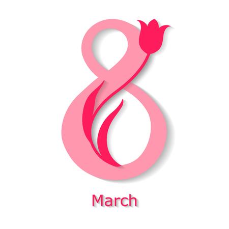 Vector illustrations of card 8 March congratulatory card with tulip decor