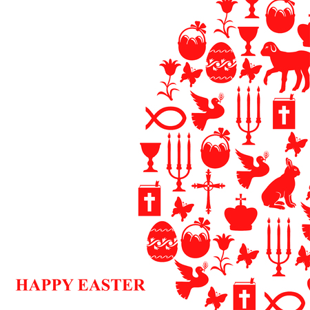 Vector illustrations of card of Easter symbols