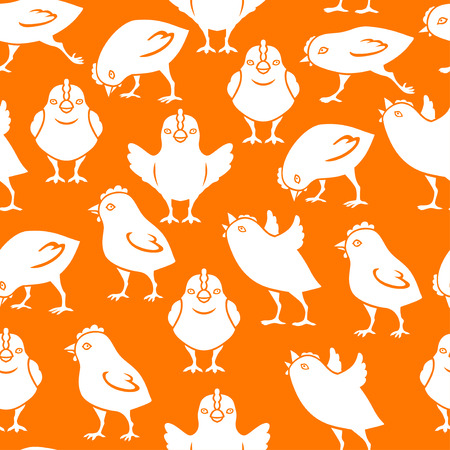 Vector illustrations of silhouette of chick pattern seamless on orange background Illustration