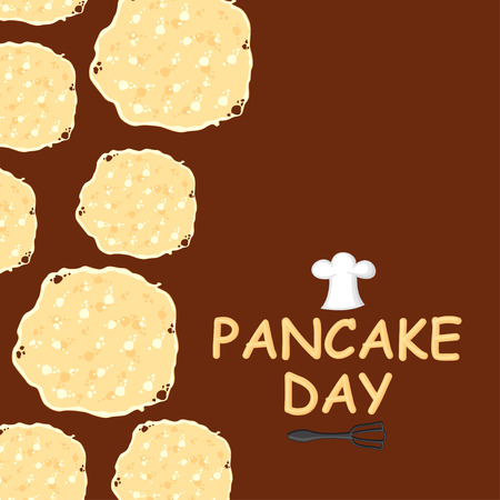Vector illustrations of Pancake day congratulatory cartoon card vertical design