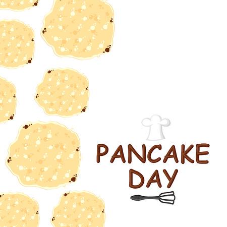 Vector illustrations of Pancake day congratulatory cartoon card vertical design