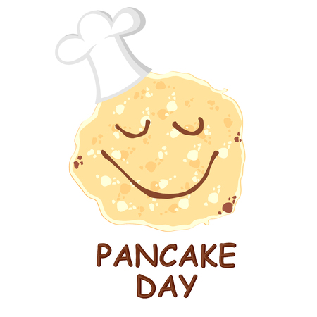 Vector illustrations of Pancake day greeting cartoon card