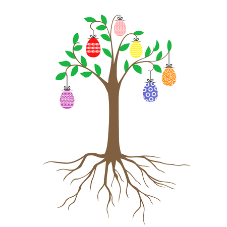 Vector illustrations of Easter decorative tree