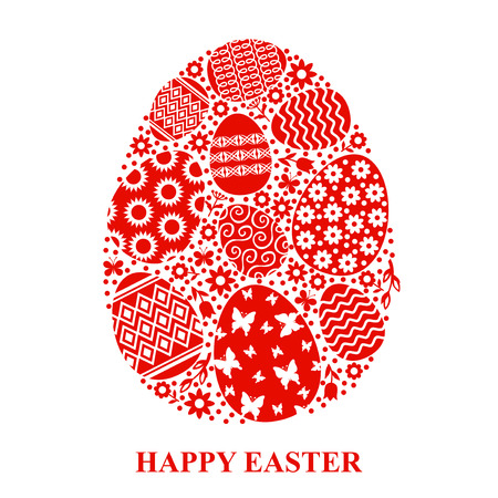 Vector illustrations of Easter greeting card with decorative egg of eggs Иллюстрация
