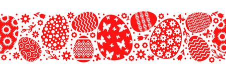 Vector illustrations of Easter decorative eggs horizontal pattern seamless. Pattern brush Иллюстрация