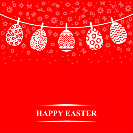 Vector illustrations of Decorative Easter eggs hanging on a rope on red background