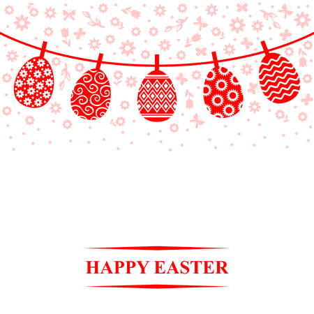 Vector illustrations of Decorative Easter eggs hanging on a rope Иллюстрация