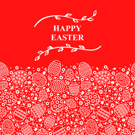 Vector illustrations of Easter decorative card with willow branches on red background