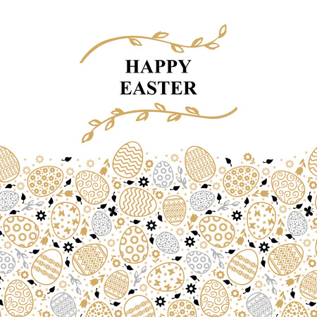 Vector illustrations of Easter decorative card with willow branches Иллюстрация