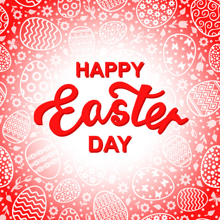 Vector illustrations of Easter decorative eggs card on red background Иллюстрация