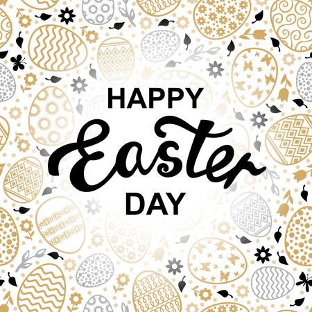 Vector illustrations of Easter decorative golden eggs card Иллюстрация