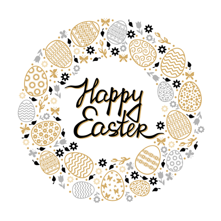 Vector illustrations of Easter decorative round card with flowers, eggs and butterflies