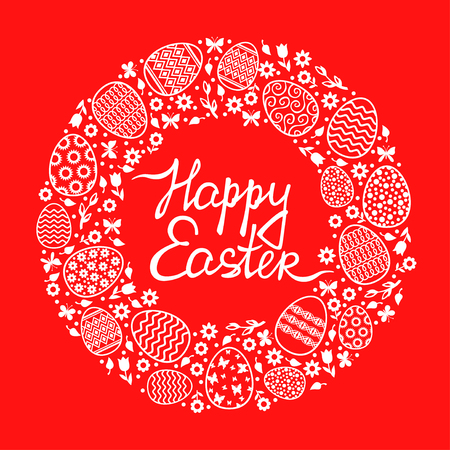 Vector illustrations of Easter decorative round card with flowers, eggs and butterflies on red background