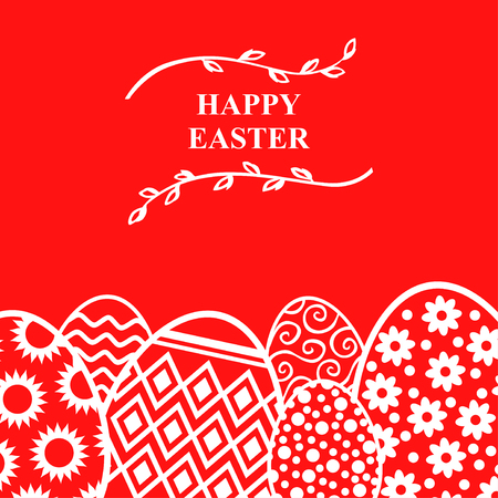 Vector illustrations of Easter decorative eggs card with willow branches on red background