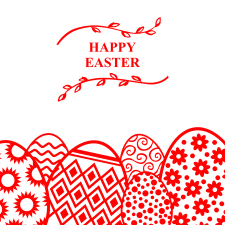 Vector illustrations of Easter decorative eggs card with willow branches