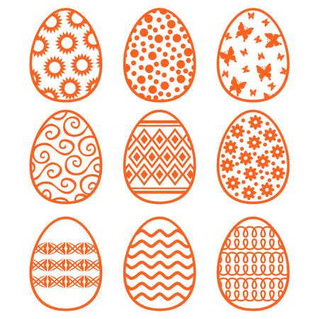 Vector illustrations of Easter decorative contour eggs set