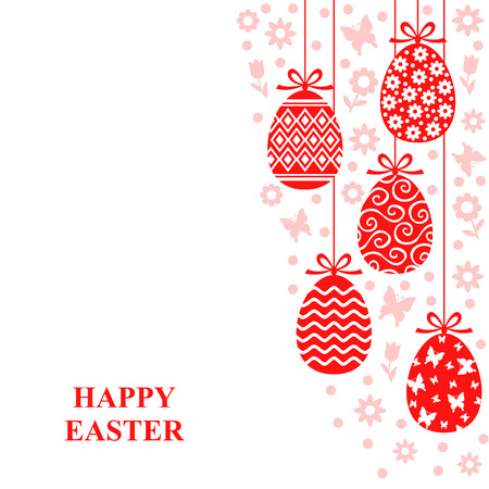 Vector illustrations of Easter decorative eggs hanging card with flowers