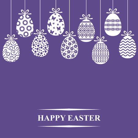 Vector illustrations of Easter decorative eggs hanging card on violet background Иллюстрация