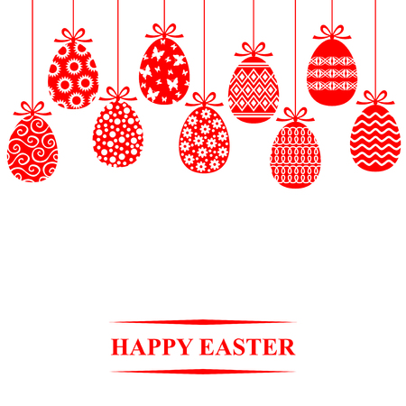 Vector illustrations of Easter decorative eggs hanging card
