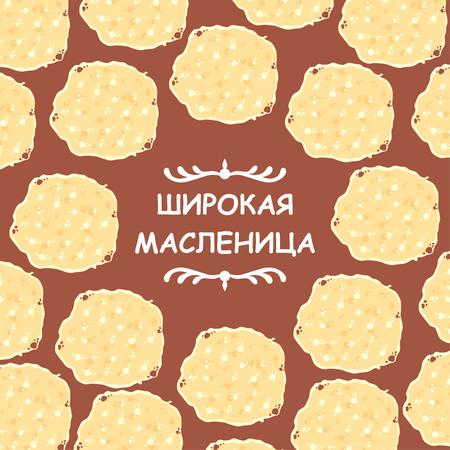 Vector illustrations of Maslenitsa congratulatory cartoon card Illustration